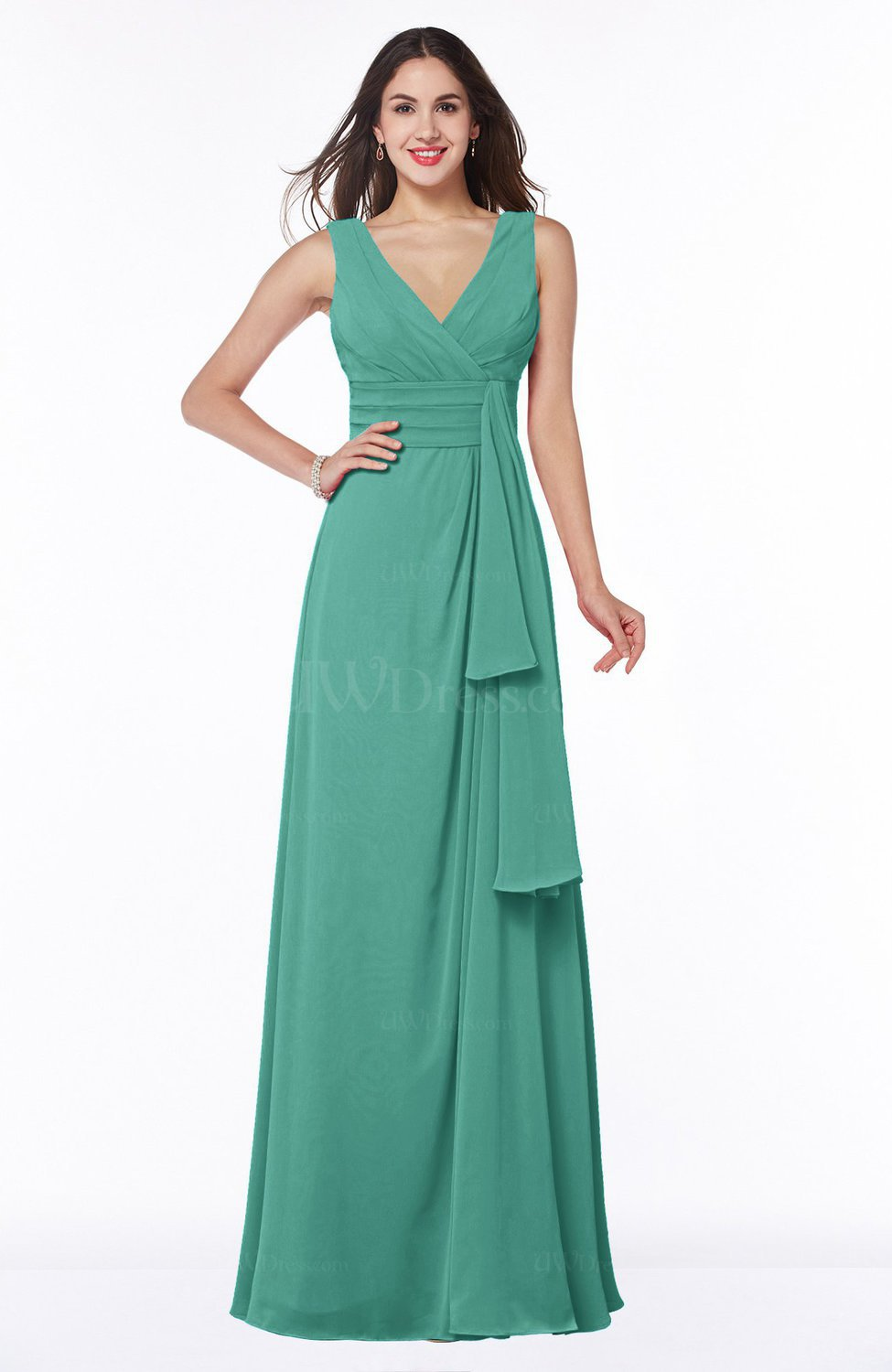 cd0612da418 Mint Green Vintage Sleeveless Zipper Floor Length Sash Plus Size Bridesmaid  Dresses (Style D19673)