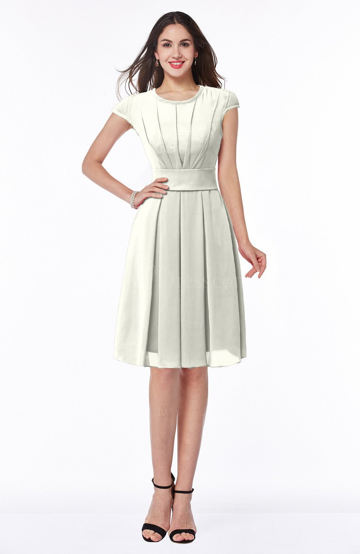 Cream Elegant Jewel Chiffon Knee Length Sash Plus Size Bridesmaid ...