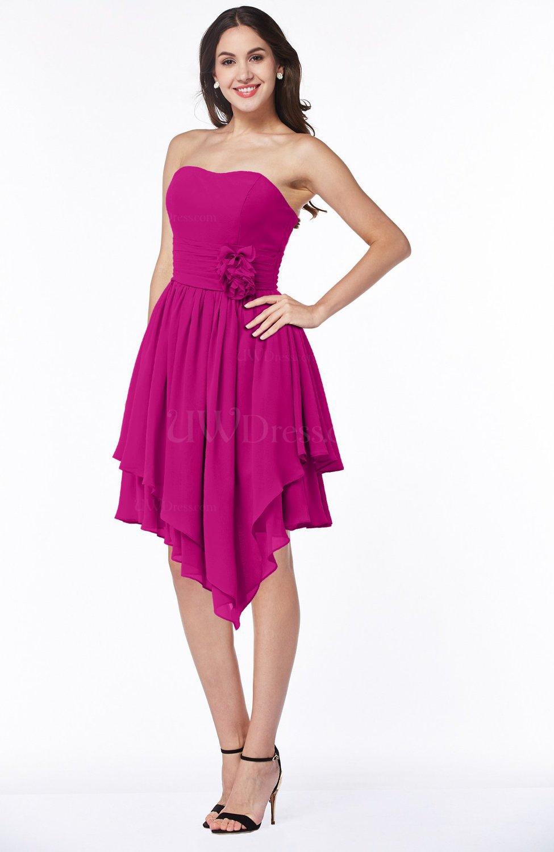 Hot Pink Casual Sleeveless Half Backless Chiffon Asymmetric Ribbon Plus  Size Bridesmaid Dresses