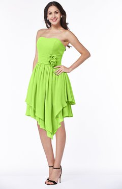 4364a89704ef Sharp Green Casual Sleeveless Half Backless Chiffon Asymmetric Ribbon Plus  Size Bridesmaid Dresses