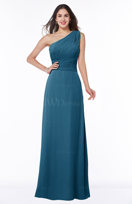 Moroccan Blue Elegant A-line Asymmetric Neckline Sleeveless Floor ...