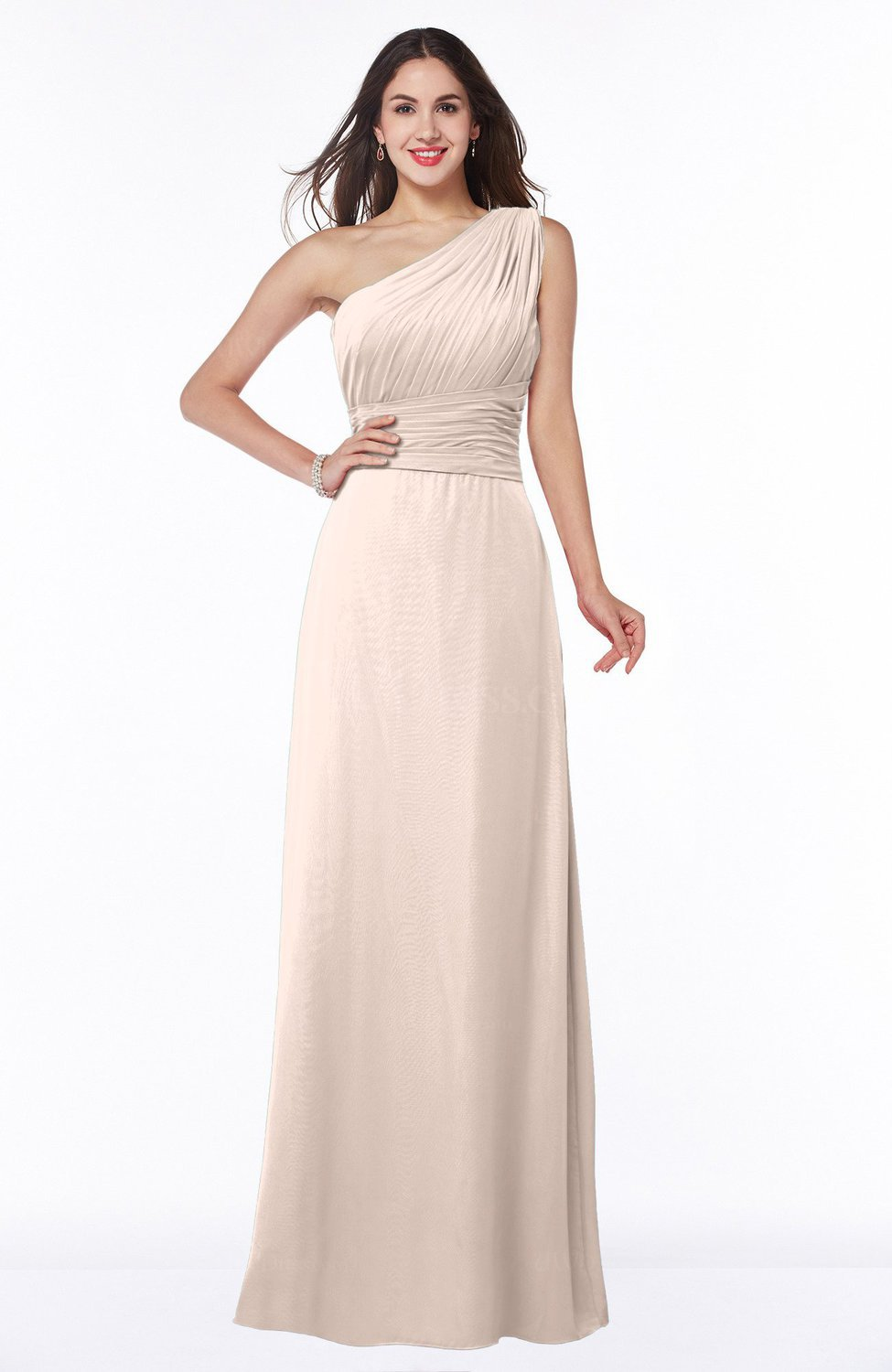 Silver Peony Elegant A-line Asymmetric Neckline Sleeveless Floor Length  Sash Plus Size Bridesmaid Dresses