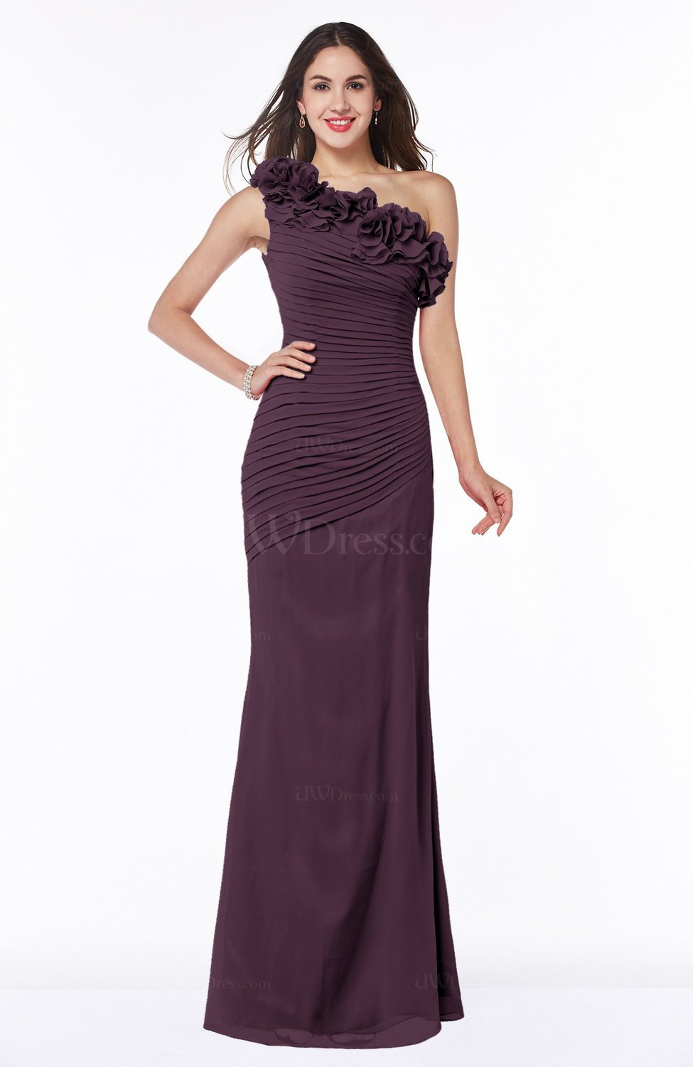 Plum Modern Asymmetric Neckline Sleeveless Chiffon Floor Length Plus Size  Bridesmaid Dresses