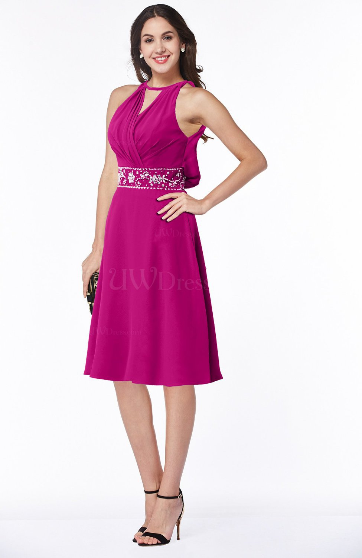 Hot Pink Mature A-line Halter Lace up Chiffon Rhinestone Plus Size ...