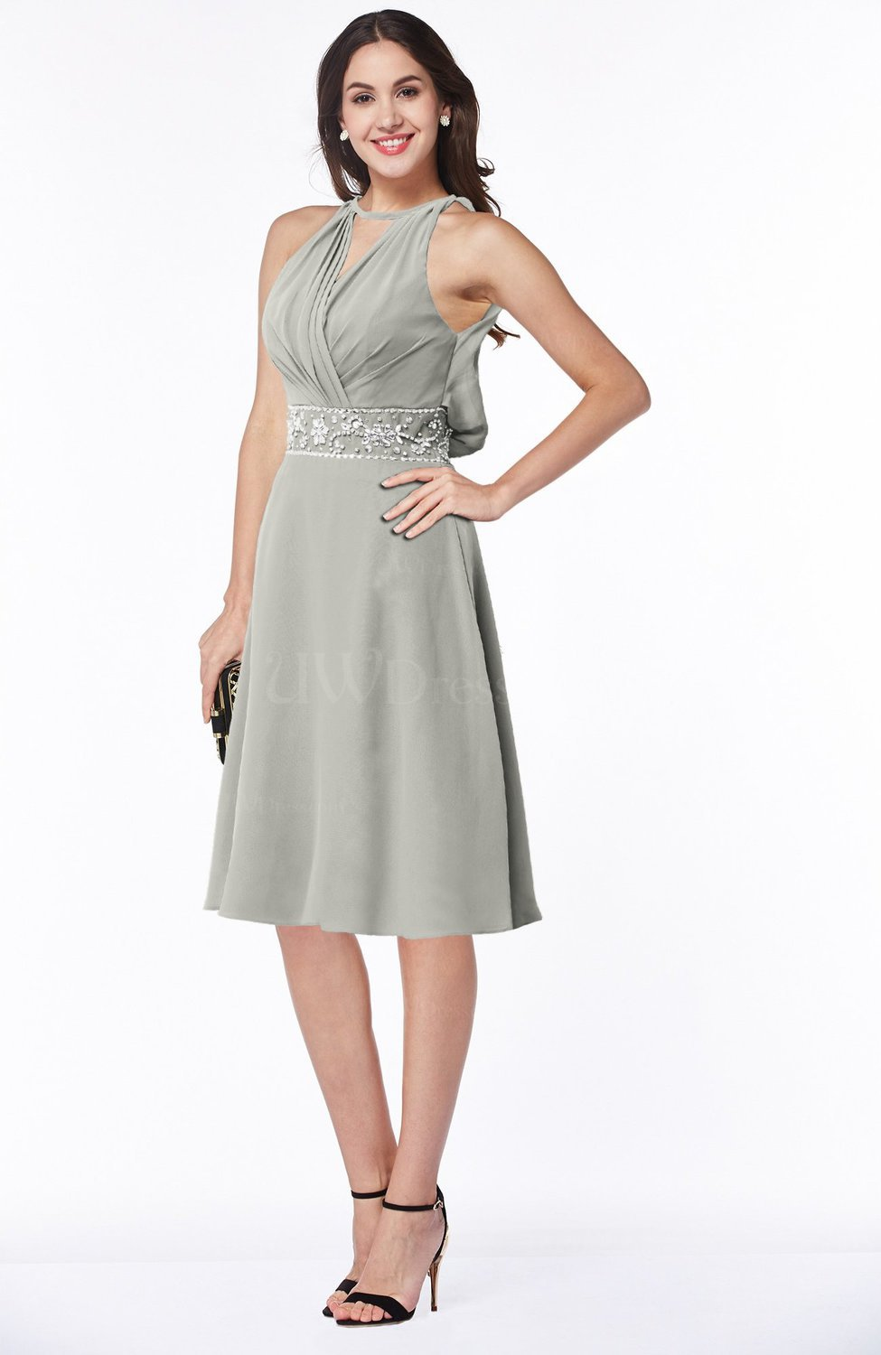 Platinum Mature A-line Halter Lace up Chiffon Rhinestone Plus Size  Bridesmaid Dresses