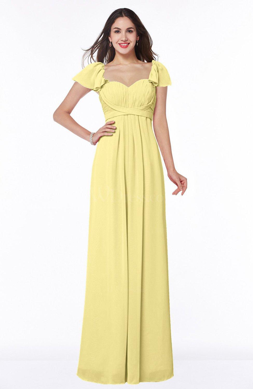 369b359ffdb Pastel Yellow Modern Portrait Short Sleeve Floor Length Sash Plus Size  Bridesmaid Dresses (Style D30756)