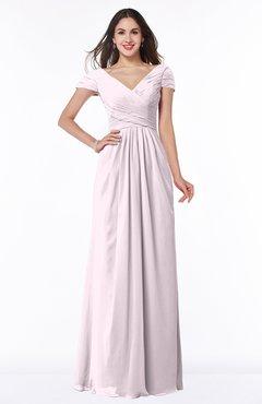 0170c6ff37dda Blush Modest Short Sleeve Chiffon Floor Length Ruching Plus Size Bridesmaid  Dresses