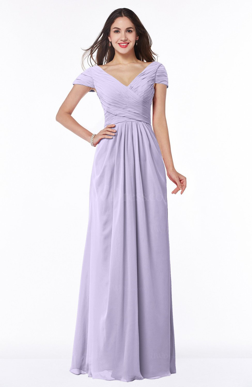 Light Purple Modest Short Sleeve Chiffon Floor Length Ruching Plus Size  Bridesmaid Dresses