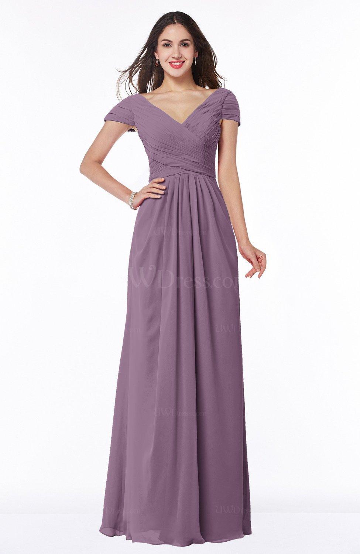 3e3b74f3154ee Mauve Modest Short Sleeve Chiffon Floor Length Ruching Plus Size Bridesmaid  Dresses (Style D84888)
