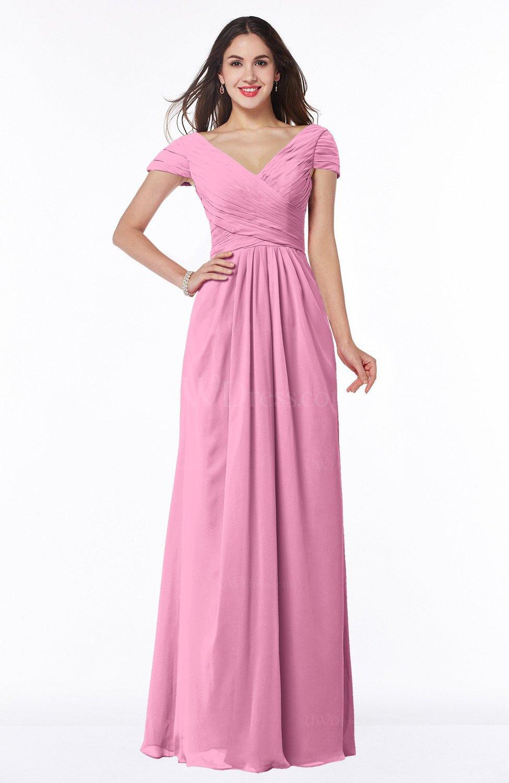 Pink Modest Short Sleeve Chiffon Floor Length Ruching Plus Size Bridesmaid  Dresses