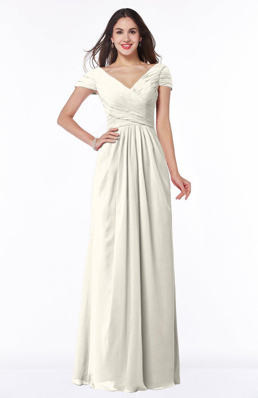 Whisper White Modest Short Sleeve Chiffon Floor Length Ruching Plus Size  Bridesmaid Dresses