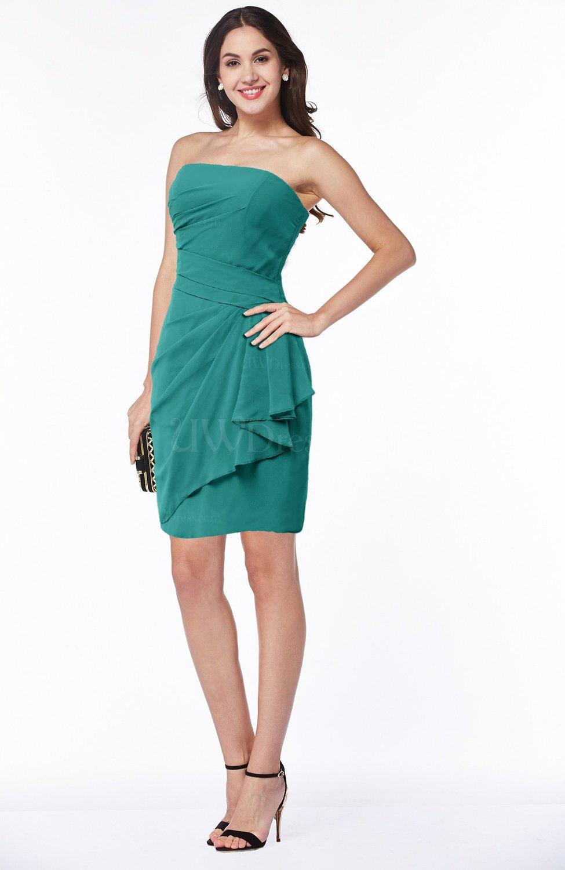 0242be8bc7 Emerald Green Sexy Column Sleeveless Chiffon Short Ruching Plus Size  Bridesmaid Dresses (Style D01873)