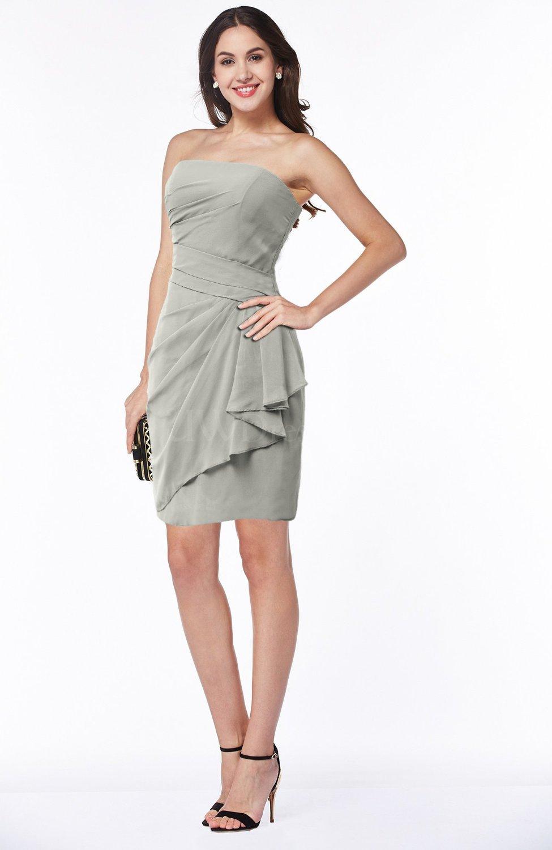 c776da47302 Sexy Column Sleeveless Chiffon Short Ruching Plus Size Bridesmaid Dresses