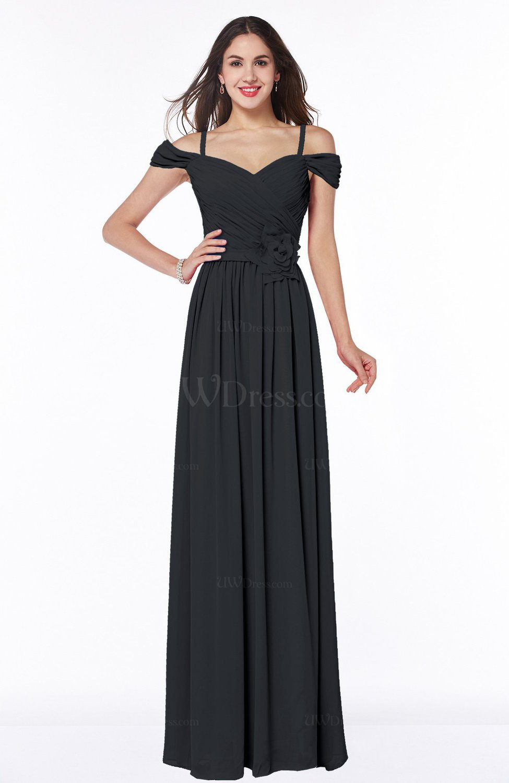 Black Gorgeous A-line Off-the-Shoulder Short Sleeve Chiffon Plus Size  Bridesmaid Dresses