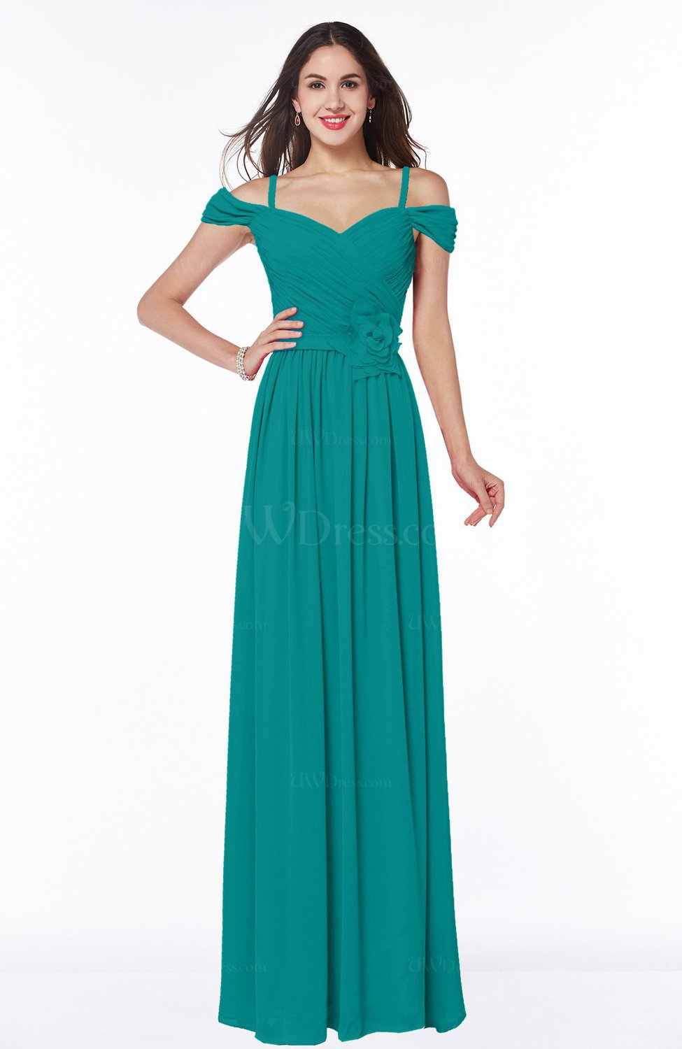 1f321982775 Emerald Green Gorgeous A-line Off-the-Shoulder Short Sleeve Chiffon Plus  Size Bridesmaid Dresses (Style D83372)