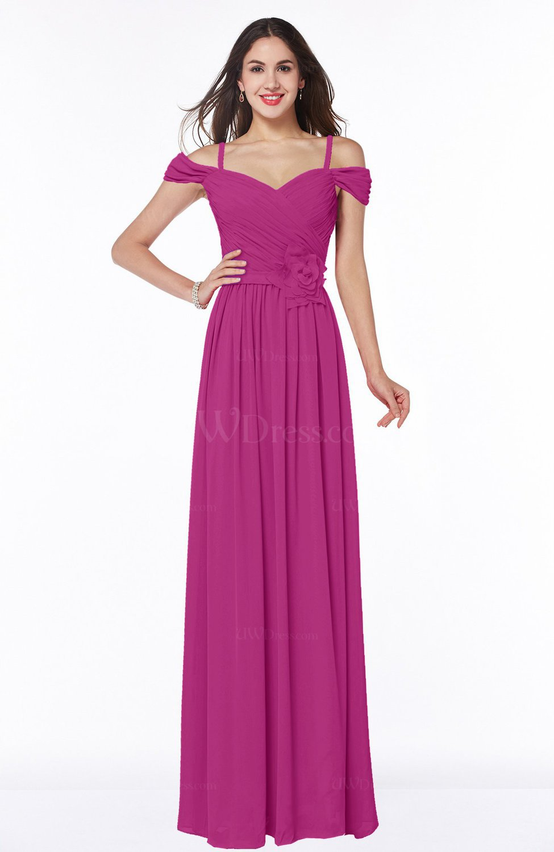178f3d90f50 Hot Pink Gorgeous A-line Off-the-Shoulder Short Sleeve Chiffon Plus Size Bridesmaid  Dresses (Style D83372)