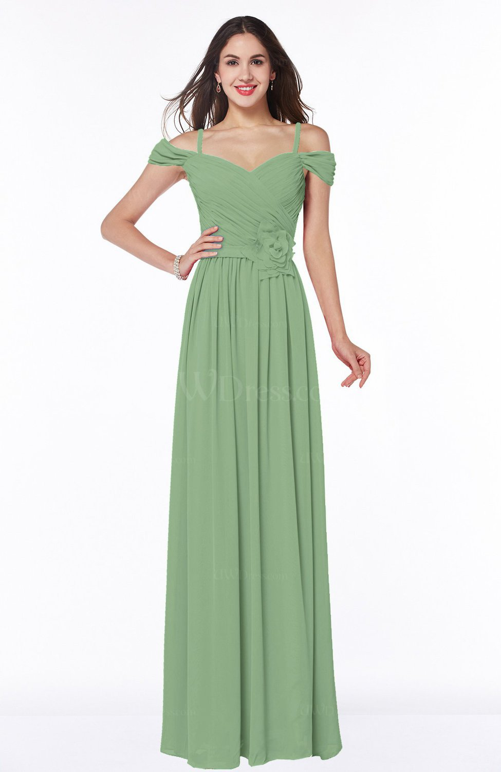c7fbe95c3ef Sage Green Gorgeous A-line Off-the-Shoulder Short Sleeve Chiffon Plus Size  Bridesmaid Dresses (Style D83372)