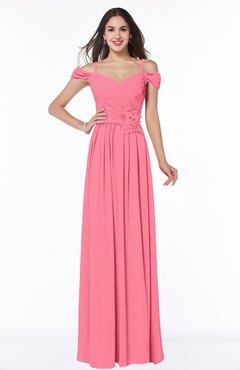 49af7b90111 Watermelon Gorgeous A-line Off-the-Shoulder Short Sleeve Chiffon Plus Size  Bridesmaid