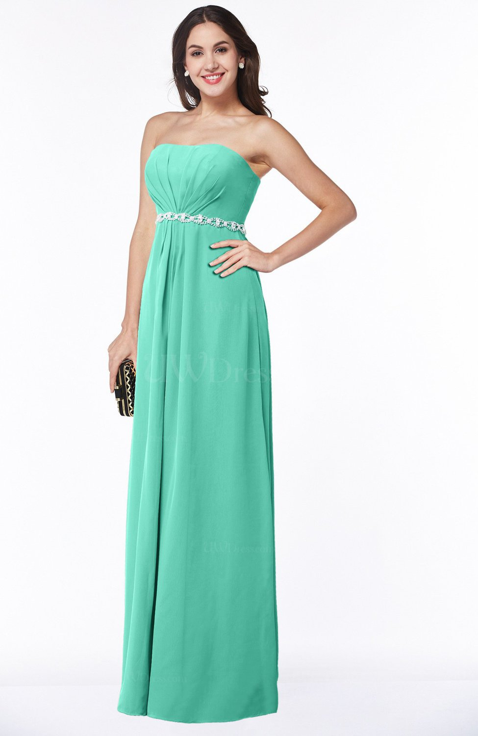ae69770081 Seafoam Green Sexy A-line Sleeveless Zipper Chiffon Floor Length Plus Size  Bridesmaid Dresses (Style D74676)