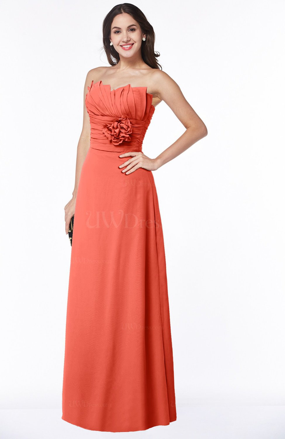 2b9bf28d36f0 Living Coral Sexy Sleeveless Half Backless Chiffon Floor Length Ribbon Plus  Size Bridesmaid Dresses (Style D74439)