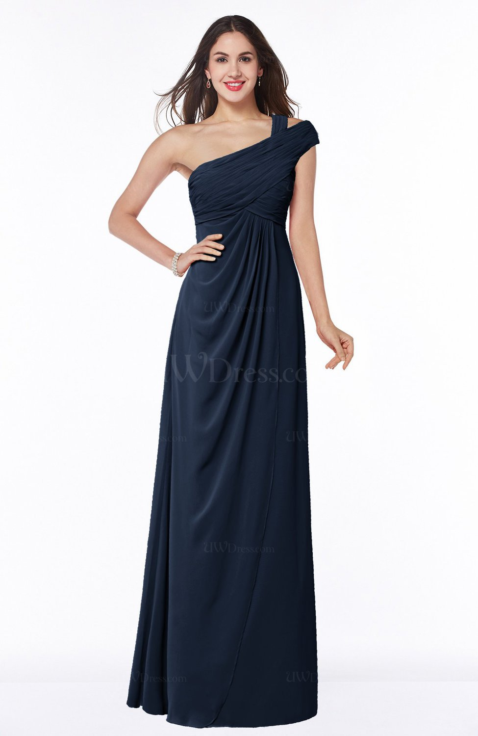 127b20dad1d Navy Blue Elegant One Shoulder Chiffon Floor Length Ruching Plus Size Bridesmaid  Dresses (Style D24205)