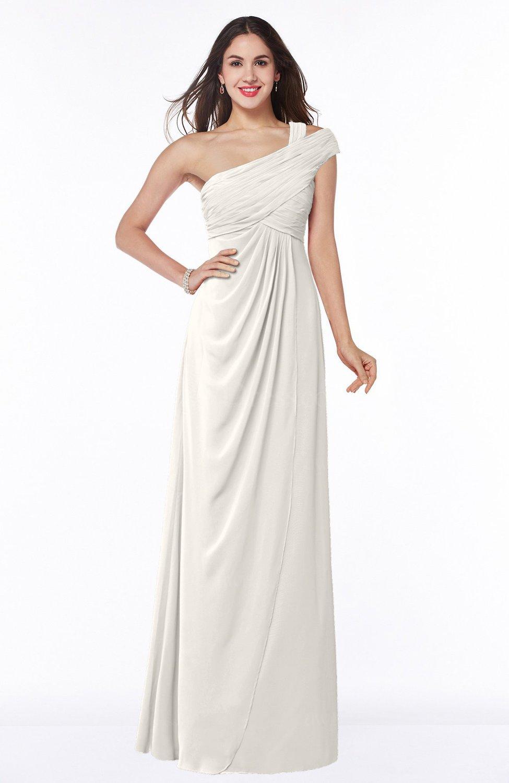 Off White Elegant One Shoulder Chiffon Floor Length Ruching Plus ...