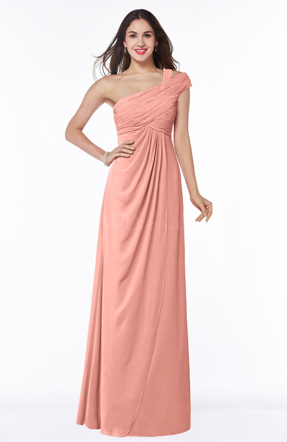 d994494bf874e Peach Elegant One Shoulder Chiffon Floor Length Ruching Plus Size Bridesmaid  Dresses (Style D24205)