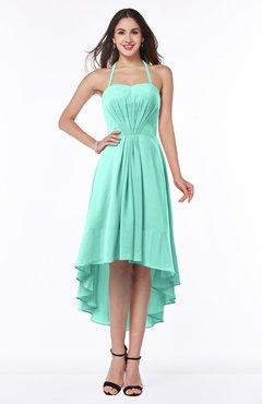 Seafoam Green Casual A-line Sleeveless Zip up Chiffon Asymmetric Plus Size  Bridesmaid Dresses c97429ccedce