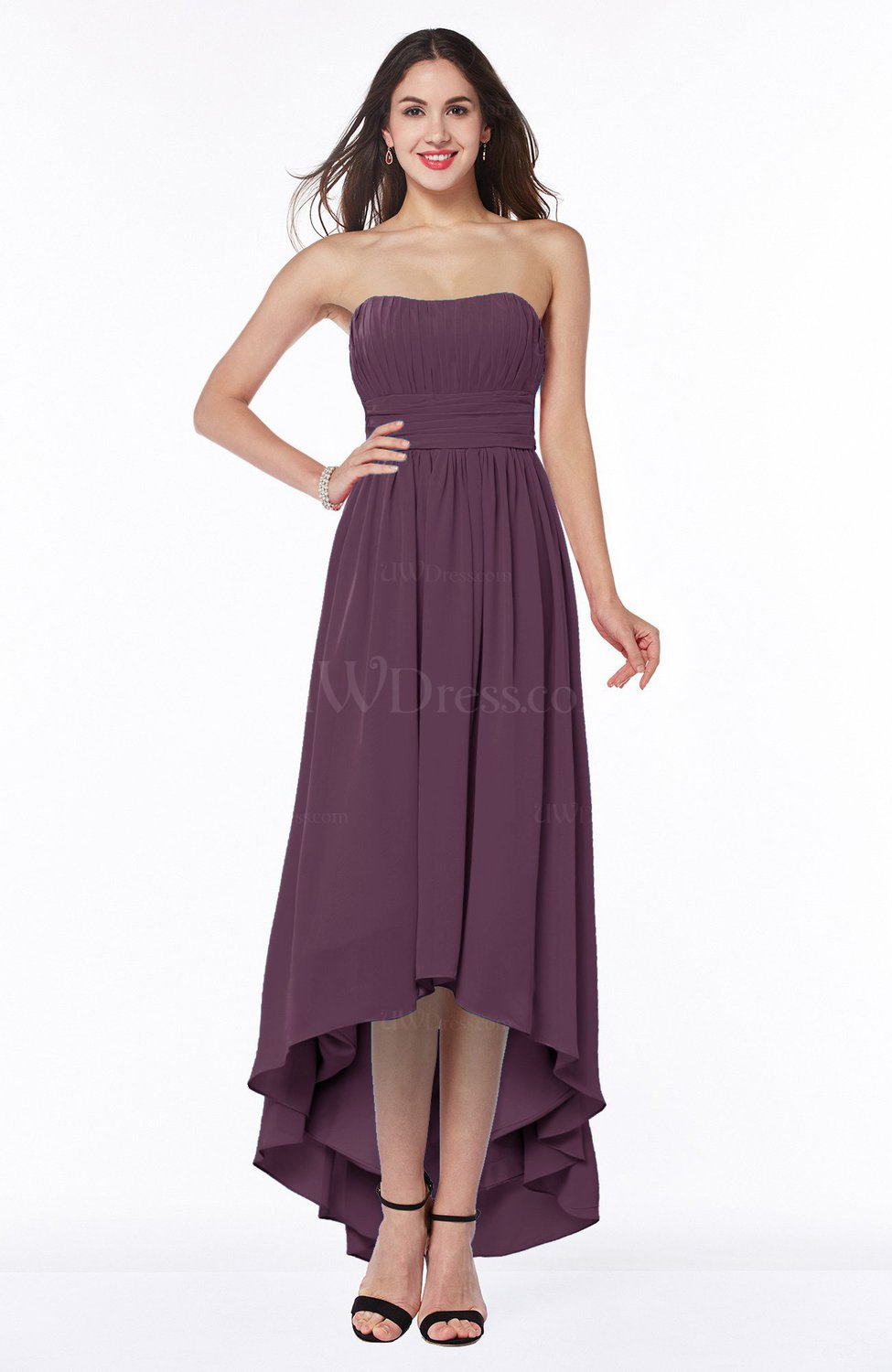 Plum Romantic A-line Strapless Sleeveless Zipper Hi-Lo Plus Size Bridesmaid  Dresses