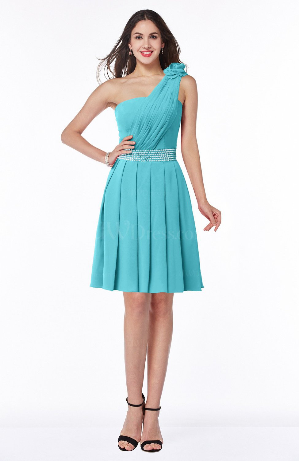 Turquoise Casual One Shoulder Sleeveless Half Backless Chiffon Sequin Plus  Size Bridesmaid Dresses