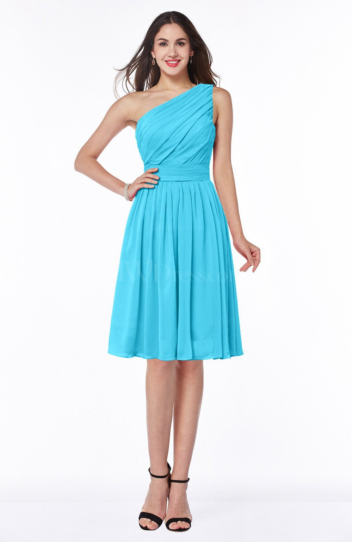 Turquoise Simple A-line One Shoulder Chiffon Knee Length Plus Size  Bridesmaid Dresses