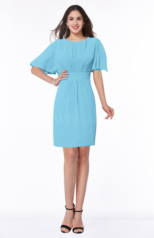 Light Blue Modest Sheath Zip up Chiffon Short Plus Size Bridesmaid Dresses
