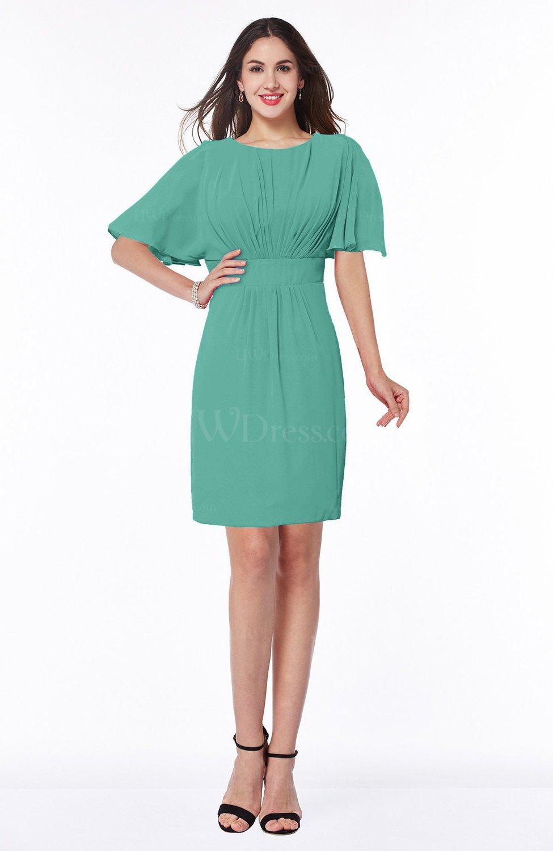 Mint Green Modest Sheath Zip up Chiffon Short Plus Size Bridesmaid Dresses