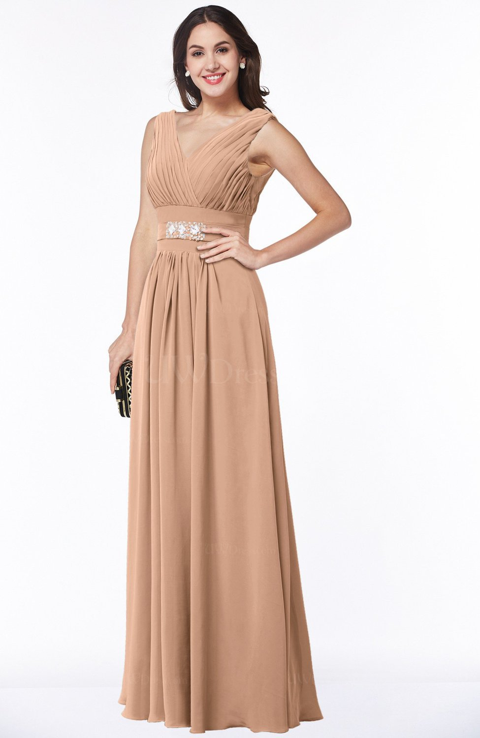 Burnt Orange Classic A-line Zip up Chiffon Ribbon Plus Size Bridesmaid  Dresses