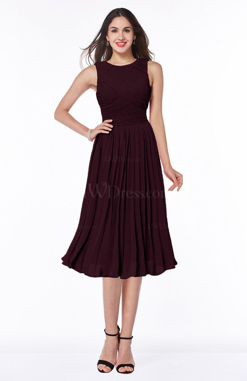Burgundy Modern A-line V-neck Sleeveless Tea Length Pleated Plus Size  Bridesmaid Dresses