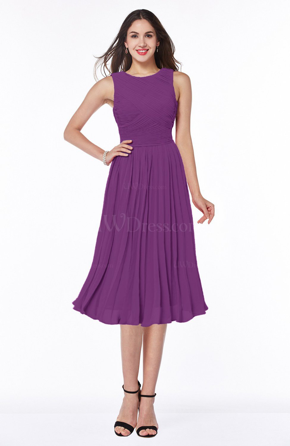 e8f03c444e7 Dahlia Modern A-line V-neck Sleeveless Tea Length Pleated Plus Size  Bridesmaid Dresses (Style D09131)
