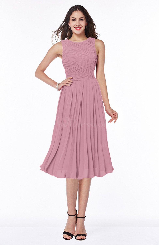 Light Coral Modern A-line V-neck Sleeveless Tea Length Pleated Plus Size  Bridesmaid Dresses