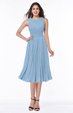 7c1c0053ca Sky Blue Modern A-line V-neck Sleeveless Tea Length Pleated Plus Size  Bridesmaid