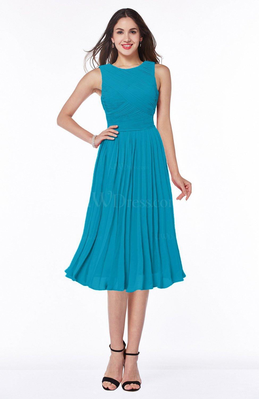 Teal Modern A-line V-neck Sleeveless Tea Length Pleated Plus Size  Bridesmaid Dresses