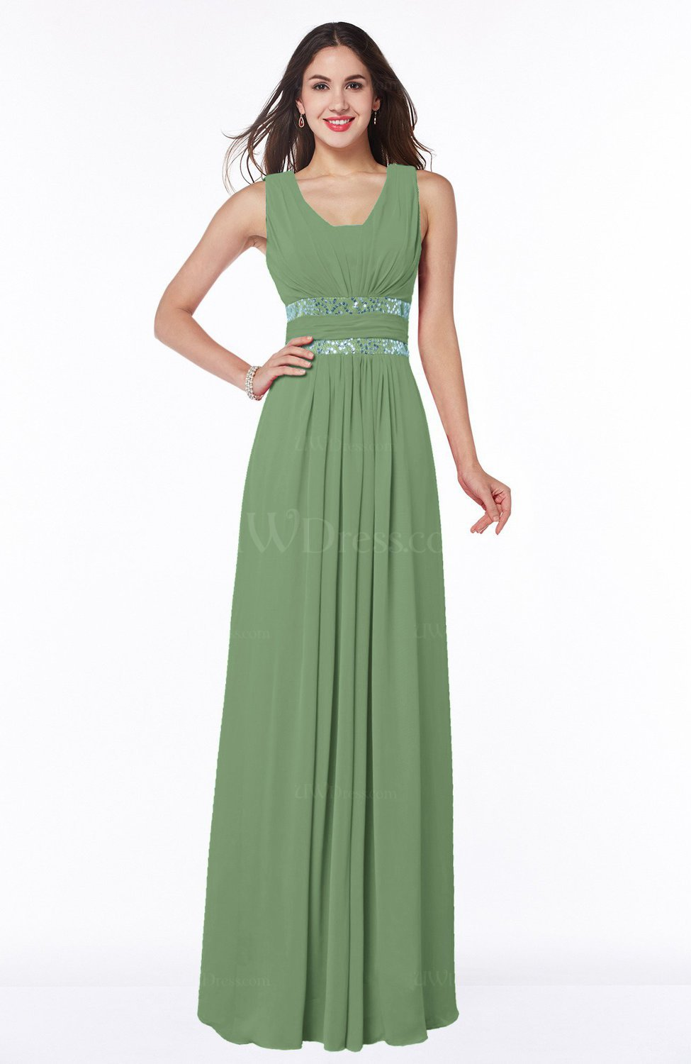 9d424cde27184f Sage Green Sexy A-line Zipper Floor Length Pleated Plus Size Bridesmaid  Dresses (Style D45799)