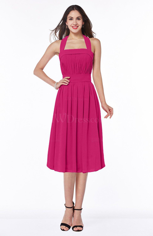 23e6a2e735d Beetroot Purple Cute Halter Sleeveless Half Backless Chiffon Tea Length  Plus Size Bridesmaid Dresses (Style D92501)