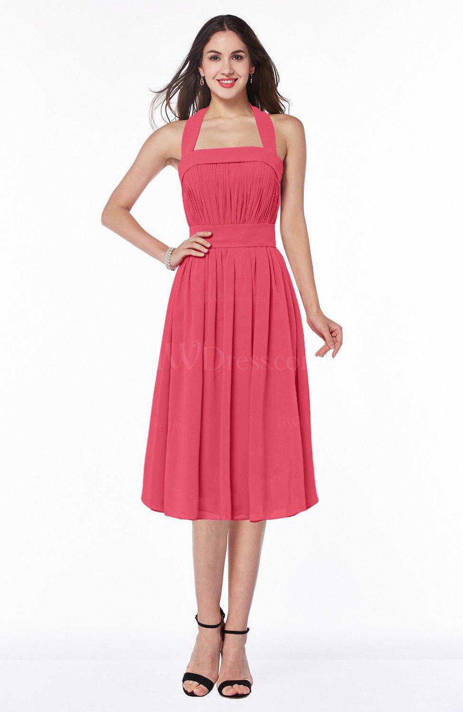 Guava Cute Halter Sleeveless Half Backless Chiffon Tea Length Plus Size  Bridesmaid Dresses