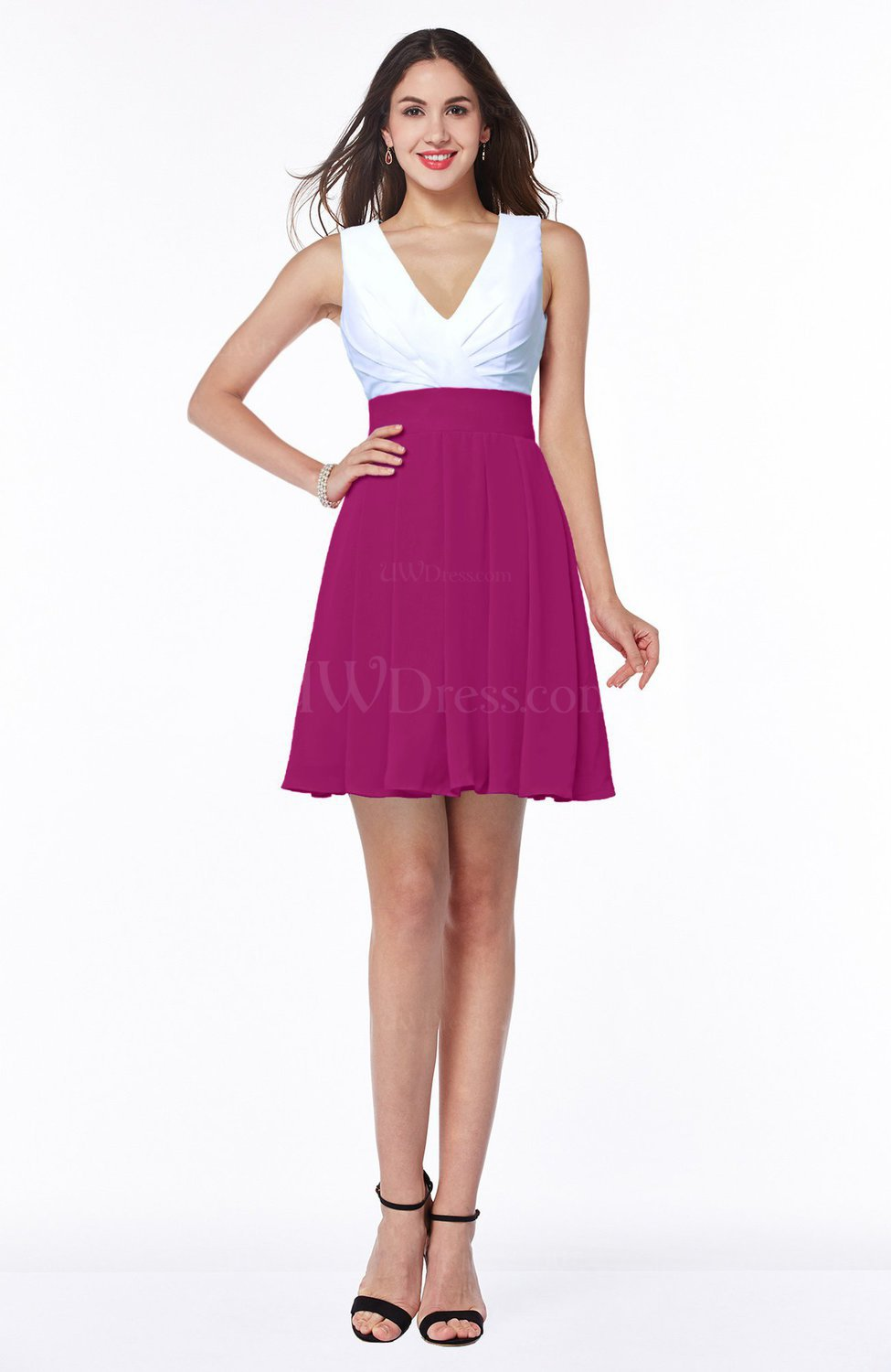 Hot Pink Casual A-line Sleeveless Zip up Pleated Plus Size Bridesmaid  Dresses