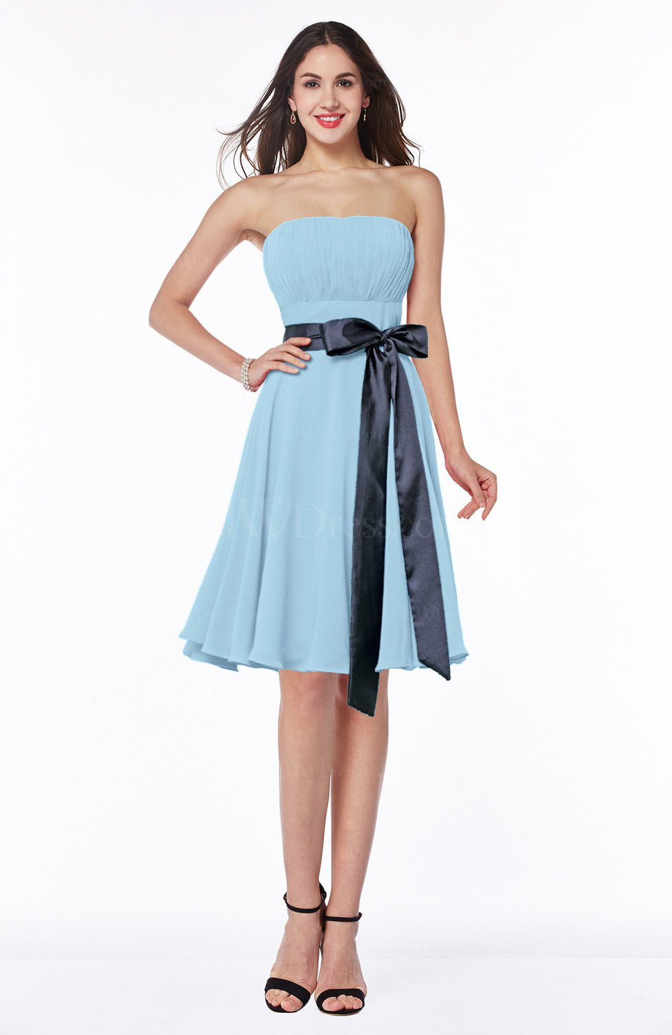 Ice Blue Classic A-line Strapless Knee Length Ruching Plus Size Bridesmaid  Dresses