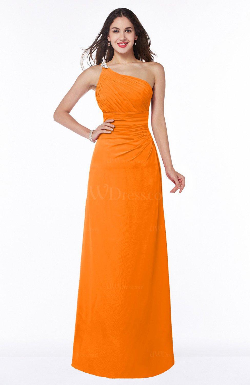 Orange Modern One Shoulder Sleeveless Half Backless Chiffon Ruching Plus  Size Bridesmaid Dresses