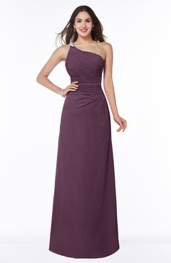 89760d314d5 Plum Modern One Shoulder Sleeveless Half Backless Chiffon Ruching Plus Size  Bridesmaid Dresses