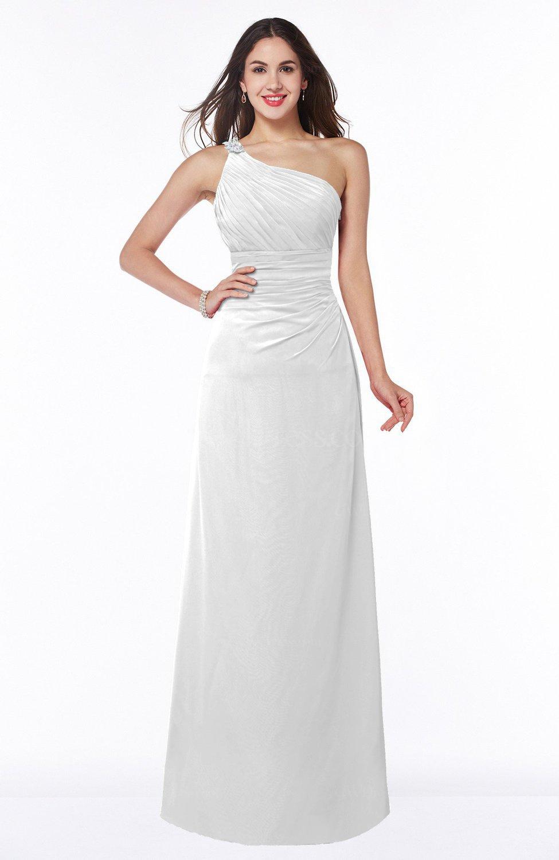White Modern One Shoulder Sleeveless Half Backless Chiffon Ruching ...