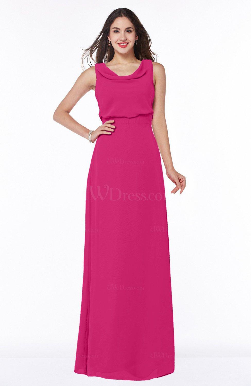 Beetroot Purple Modern A-line Jewel Chiffon Draped Plus Size Bridesmaid  Dresses
