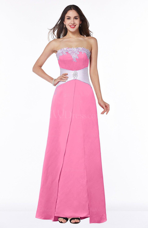 420ddfe4ca6 Carnation Pink Elegant A-line Strapless Zipper Satin Sash Plus Size  Bridesmaid Dresses (Style D91737)