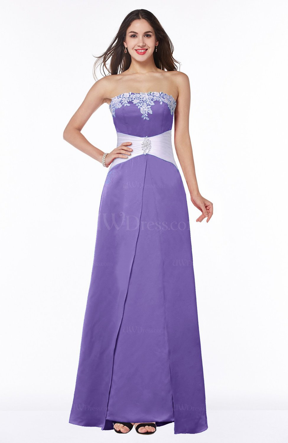 Lilac Elegant A-line Strapless Zipper Satin Sash Plus Size Bridesmaid  Dresses
